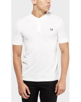 Textured Panel Short Sleeve Polo Shirt