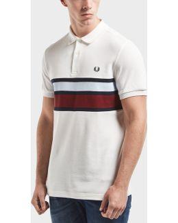 Stripe Panel Short Sleeve Polo Shirt