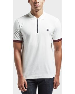 Pique Zip Neck Short Sleeve Polo Shirt