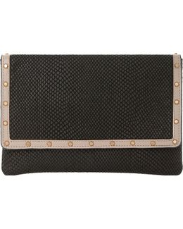 Studded Leather Envelope Clutch Bag