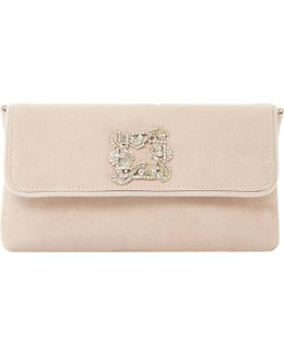Betsey Jewelled Suede Clutch Bag