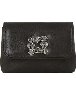 Beston Brooch-embellished Suede Clutch Bag