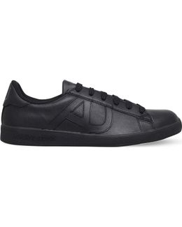Logo-embossed Leather Tennis Trainers