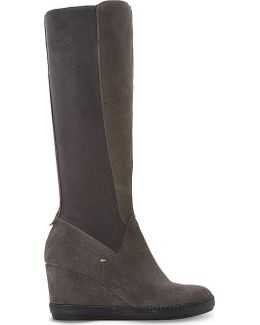 Wedge Suede Knee-high Boots