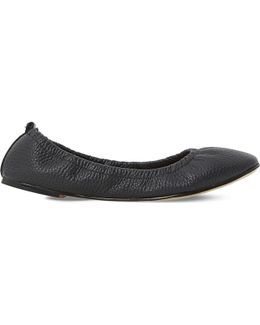 History Elasticated Leather Ballet Flats