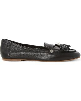 Gondola Tassel Trim Leather Loafers