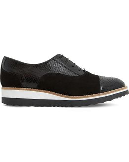 Furley Reptile-effect Leather Flatforms