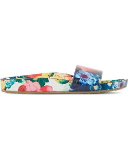 Lilley Floral Print Slider Sandals