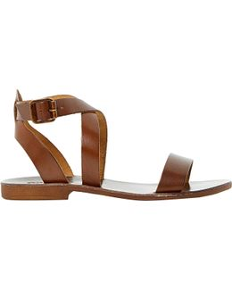 Lotti Leather Cross-over Sandals