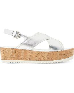 Kraft Leather Cross Strap Flatform Sandal