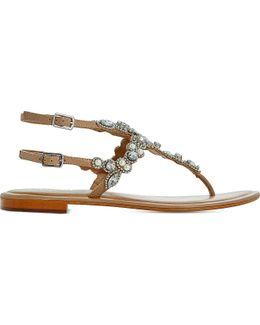 Nuevo Embellished Leather Sandals