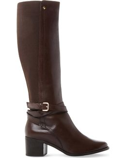 Vivv Stretch Panel Knee-high Leather Boots