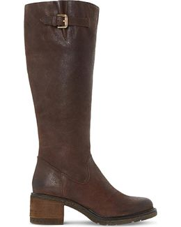 Tedmund Knee-high Distressed Leather Boots