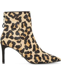 Oralia Leopard Print Pony Ankle Boots