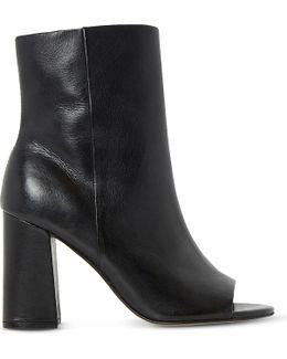 Octavia Peep-toe Leather Heeled Ankle Boots