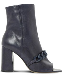 Octavia Embellished Peep-toe Leather Heeled Ankle Boots
