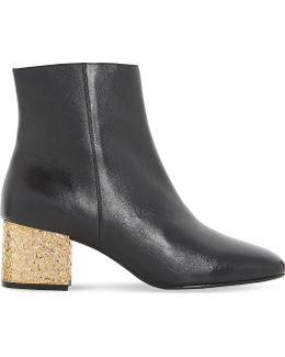 Oxbow Metallic Leather Ankle Boots