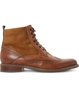 Philomena Leather Brogue Ankle Boots