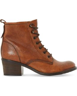 Leather Lace Up Patsie Ankle Boot
