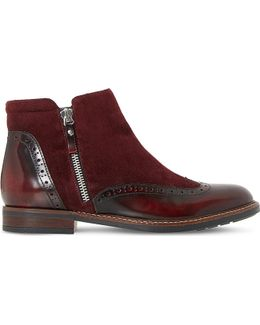 Pandalla Leather And Suede Ankle Boots