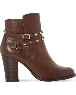 Padro Studded Leather Ankle Boots