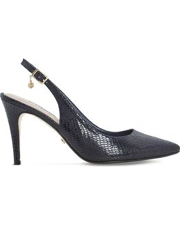 Cathy Reptile-effect Slingback Courts