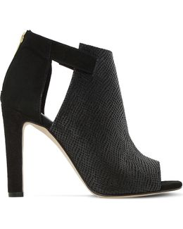 Cersei Peep-toe Textured Leather Ankle Boots