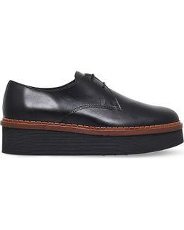 Gomma Allaciata Leather Flatform Shoes
