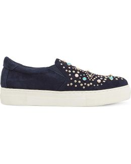 Elha Star Embellished Suede Trainers