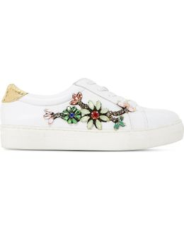 Emerelda Embellished Leather Trainers