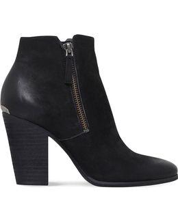 Denver Nubuck Block Heel Ankle Boots