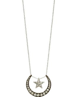 Love Diamonds 18ct White-gold And Diamond Lunar Pendant Necklace
