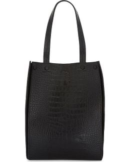 Croc Suede Mix Leather Tote Bag