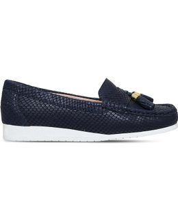 Cost Snakeskin-embossed Leather Loafers