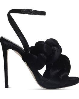Braided Velvet High Heeled-sandals