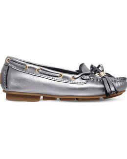 Line Metallic Leather Moccasins