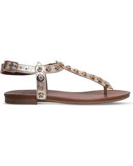 Kave Embellished Metallic Leather Sandals