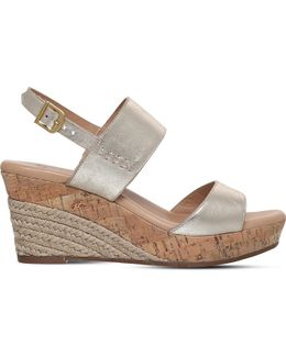 Elena Metallic-leather Wedge Sandals