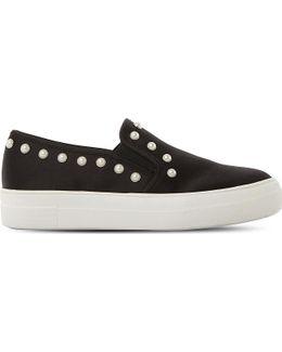 Glacier Embellished Faux-leather Flatform Skate Shoes