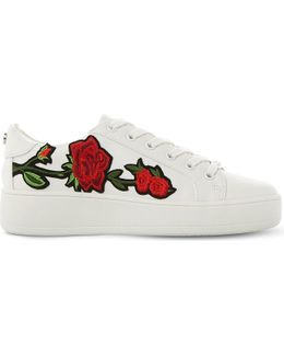 Bertie-m Floral Embroidered Flatform Trainers