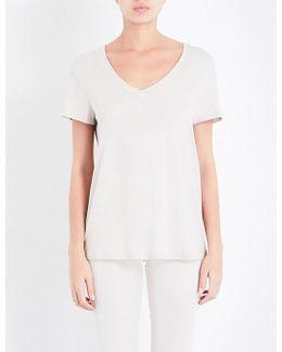 Short-sleeved Cotton-blend Pyjama Top