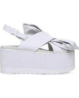 X Preen Moon Bow Leather Sandals