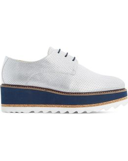 Flaunt Perforated Metallic Leather Flatform Shoes