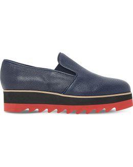 Gloss Leather Flatform Shoes