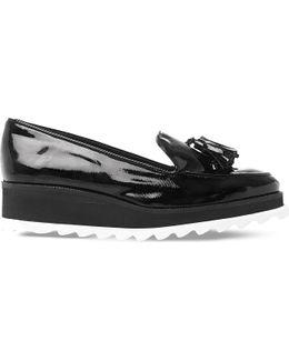 Glazed Patent-leather Flatform Loafers