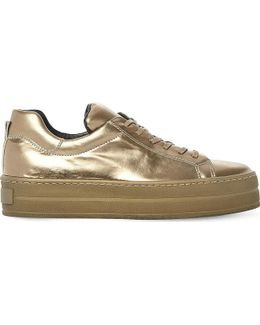 Export Metallic-leather Flatform Trainers