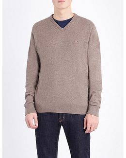 V-neck Cotton And Cashmere-blend Jumper
