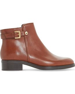 Polley Buckle Leather Ankle Boots