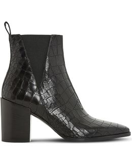 Pancras Crocodile-effect Leather Ankle Boots