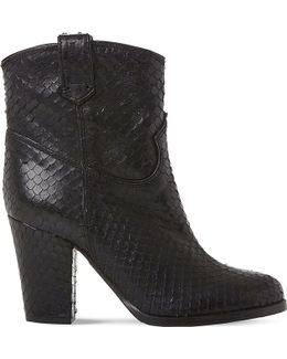 Padbury Reptile-embossed Leather Ankle Boots